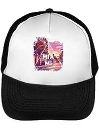 Miami Series Florida Beautiful Landscape Men s Baseball Trucker Cap Hat  Snapback Black White 817ff9a8c44