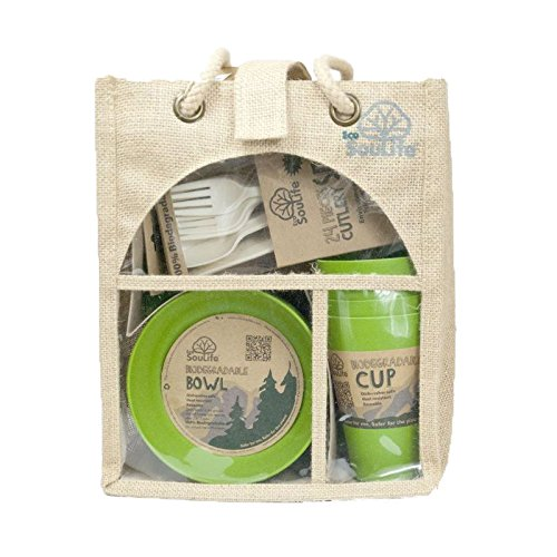Ecosoulife biodégradable Picnic Set – Set de Couverts