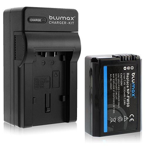 Blumax ersetzt Sony NP-FW50 1030mAh + Ladegerät | kompatibel mit Sony Alpha7 / 7ii / 6500/6400 / 6300/6000 / 5100 NEX-7 NEX-6 NEX-F3 NEX-3 Nex-5 NEX-5N NEX-5T SLT A55V A33 A35 A37 -