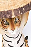 Kare Design Beistelltisch Animal Tiger, Ø35cm, kleiner, runder Couchtisch, Holzoptik, Tierfigur als ausgefallener Wohnzimmertisch, (H/B/T) 53x37x35cm