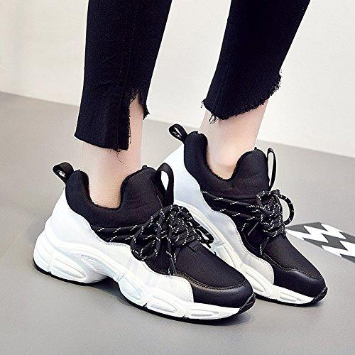Liangjun Fond Épais Femmes Chaussures Sneakers Outdoor Sport Printemps, 5 Taille Disponible, 2 Couleurs (couleur: Gris, Taille: Eu39 = Uk6 = L: 245mm) Noir
