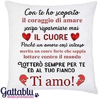 Federa per cuscino Un amore intenso merita un cuore forte: lotterò per te! Idea regalo per San Valentino per lui o per lei, anniversario d'amore!