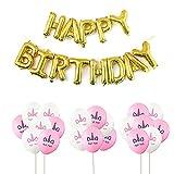 Hemore Deko-Ballon [Gruppen] Einhorn (Weiß 10 + Rosa 10) + 1 Paar Goldene Glücksbringer Geburtstag für Hochzeit/Geburtstag/Party/Abendveranstaltungen