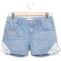 Off The High Street Girls Denim Shorts White /& Pink Palm Tree