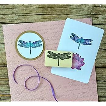 Stempel Libelle handgeschnitzt, auf Holz montiert, Holzstempel, Motivstempel, Insekten Stempel, BuJo Stempel…