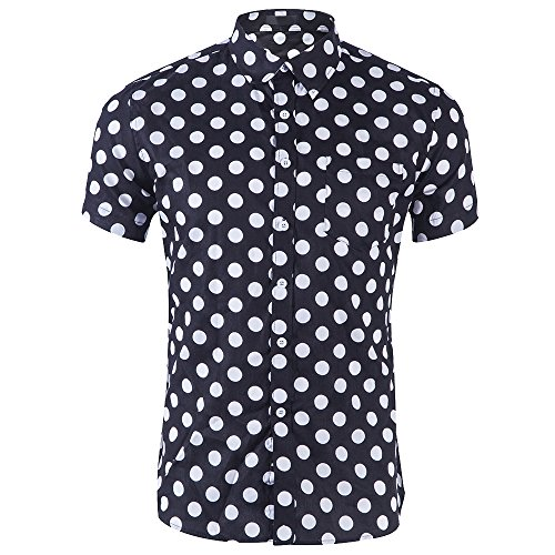 Dolcasa Men 's Snap Button-Down Point Short Sleeve Work Casual Shirt, C, M