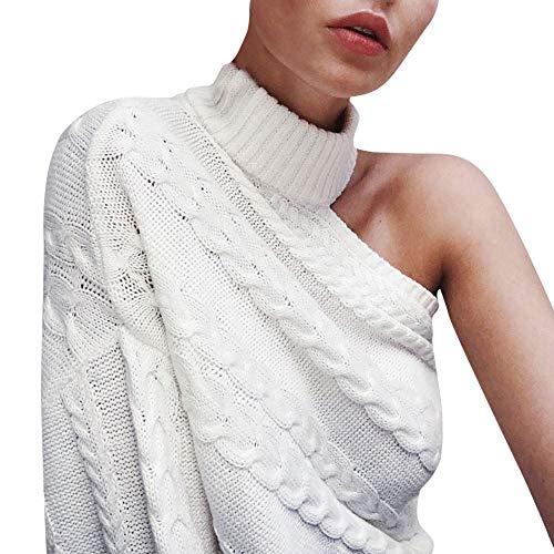 Longra Damen Elegant Langarm Schulterfrei Pullover Sweater One-Shoulder Strickpullover Bluse Tops Oberteil Frauen Einfarbig Rollkragenpullover Winterpullover Grobstrick (Weiß)