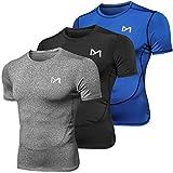 MEETYOO Tee Shirt Homme, Compression Maillot Manches Courtes T-Shirt Baselayer Running Vetement pour Sports Jogging Musculation Gym (Bleu + Gris + Noir, M)
