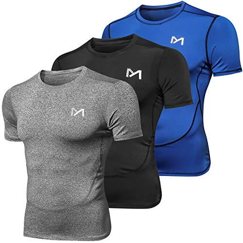 MEETYOO Kompressionsshirt Herren, Laufshirt Kurzarm Funktionsshirt Atmungsaktiv Sportshirt Männer T-Shirt für Running Jogging Fitness Gym (Blau + Grau + Schwarz, M) (Fitness-t-shirt Herren)