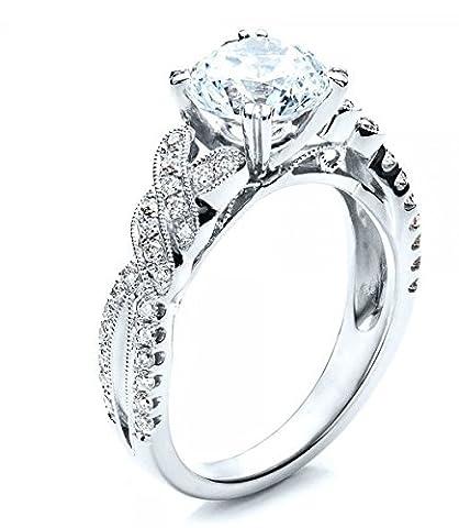 Gowe Luxe 1,5ct Esdomera moissanites Bague Bijoux en or massif 9ct or blanc Bague de fiançailles Couleur F Lab Cultivées Diamant