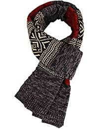 MUCO Mens Winter Neck Warm Scarf Knitting Yarn Scarves Vogue Multicolour Scarf for Men Women