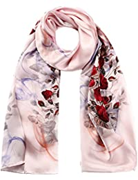 STORY OF SHANGHAI Womens 100% Natural Mulberry Silk Scarf Multi-use Floral Satin Scarves Luxury Gifts for Ladies