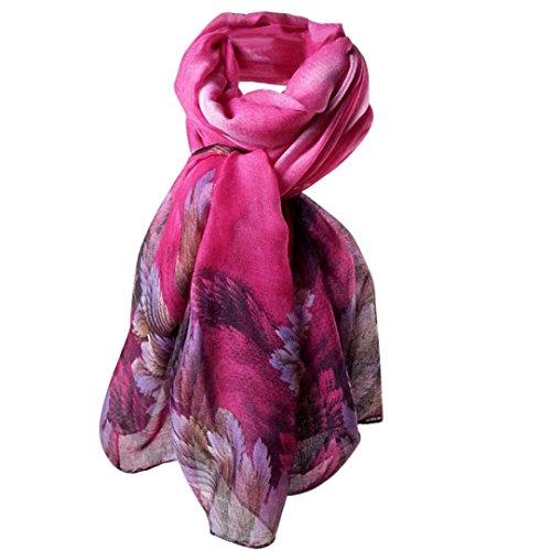 OVERDOSE Damen Korallenblätter Drucken Lange Paris Garn Schal Wrap Schal Stola Pashmina Schals,A-Hot Pink Hot Pink Cashmere