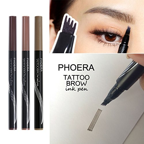 Allbesta Fork Tip Microblading Eyebrow Tattoo Tint Pen Fine Sketch Liquid Enhancer Pencil Waterproof (1 per Pack) (Makeup Long-wear Remover)