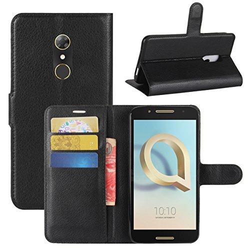 HualuBro Alcatel A7 Hülle, [All Around Schutz] Premium PU Leder Leather Wallet Handy Tasche Schutzhülle Case Flip Cover mit Karten Slot für Alcatel A7 Smartphone (Schwarz)