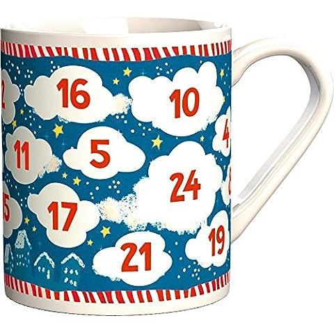 Taza de desayuno Decorado con Nubes de Calendario de Navidad. Fabrica de los Sueños. de Spiegelburg