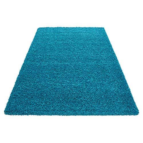 Carpetsale24 Hochflor Shaggy Teppich für Wohnzimmer Langflor Pflegeleicht Schadsstof geprüft 3 cm Florhöhe Oeko Tex Standarts Teppich, Maße:120x170 cm, Farbe:Türkis