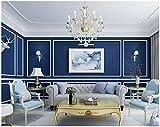Yosot Reine Leinen Wasserdichte Tapete Schlafzimmer Wohnzimmer Moderne Minimalistische Tapete Blau
