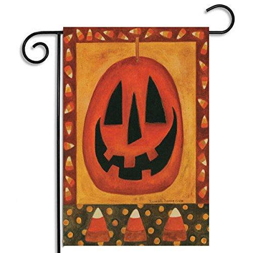 Bazaar 30x45cm Halloween Polyester Pumpkin Welcome Flag Garden Holiday Decoration (Garden Halloween Flags)