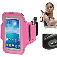 TechExpert Brassard sport tour de bras rose bonbon pour Samsung Galaxy SIV mini S4 mini/i9190 idéal pour les sportifs, course à pied ou salle de sport avec pochette pour clés