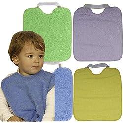 TI TIN Pack 4 Baberos Impermeables para Bebé con Cierre con Goma 90% Algodón - 10% Poliéster con Forro de Vinilo | Lote de 4 Baberos para Bebés de Más de 1 Año, 32x36 cm