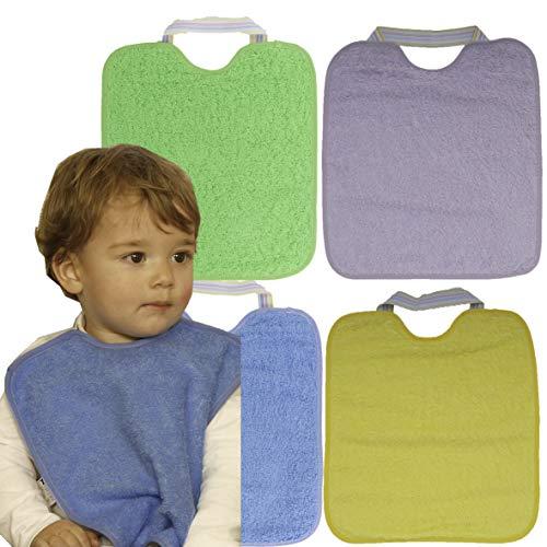 Ti TIN Pack 4 Baberos Impermeables para Bebé/Rizo 90% Algodón y 10% Poliéster Forro Vinilo/Con Cierre con Gomas/Para Bebés de Más de 1 Año, 32x36 cm