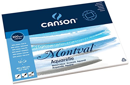 Canson 200006546 Montval Aquarellpapier, 40 x 50 cm, naturweiß