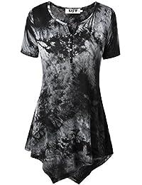 DJT-Camiseta Top para Mujer Bajo Irregular Mangas Cortas