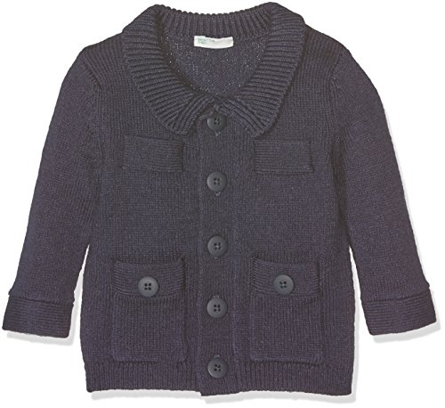United Colors of Benetton Baby-Jungen Strickjacke 10F4C578N, Blau (Navy), 68 (Herstellergröße: 62)