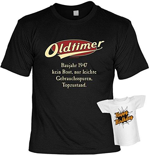 Cooles Geburtstagsgeschenk Leiberl für Männer T-Shirt Set mit Mini T-Shirt Oldtimer Baujahr 1947 Leibal zum Geburtstag Schwarz