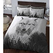 wkdr 3d animales edredón conjuntos con fundas de almohada de polialgodón juego de cama, algodón poliéster, lobo, Doublé