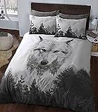 eirene threadz Ellephant & Cat & Unicorn Printed Polycotton Duvet Cover Sets Pillow Cases Bedding Sets (King, Wolf)