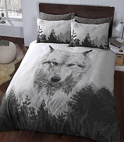 Eirene Threadz Bettwäscheset mit Kissenbezug, Baumwollmischgewebe, bedruckt mit Elefanten-, Katzen- und Einhorn-Design, Polycotton, wolf, King Size -