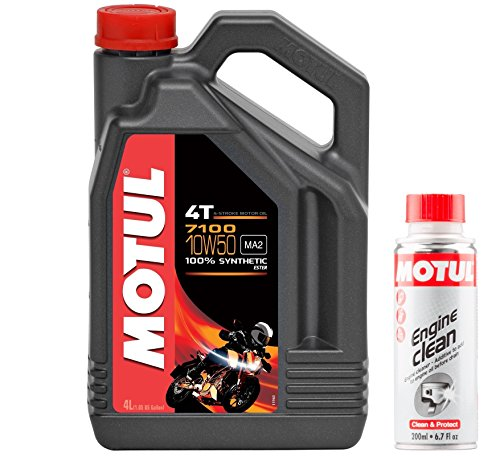 Motul DUO Olio Moto 7100 4T 10W-50, 4 litri + Engine Clean 200m