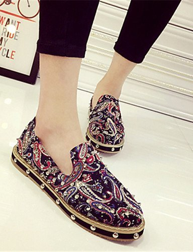 Chaussures Femme Shangyi - Mocassins - Décontracté - Bout Rond - Plat - Similicuir - Rouge / Gris Gris