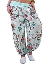 BD Pumphose Sommerhose Stretch Strandhose Baggy im Harem Stil mit Blumenmuster