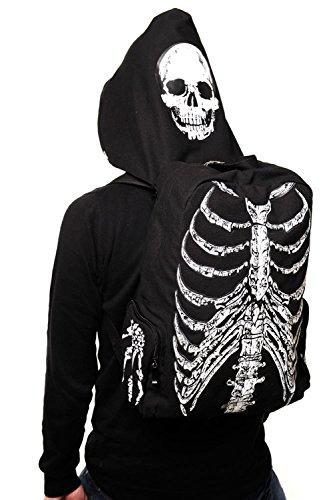 Vietato Skull and Rib Cage Backpack - Zaino con cappuccio a forma di teschio scheletro gotico