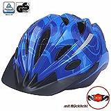 Prophete Helm 0753 Kinder Fahrradhelm blau 48 - 52 cm mit LED-Licht