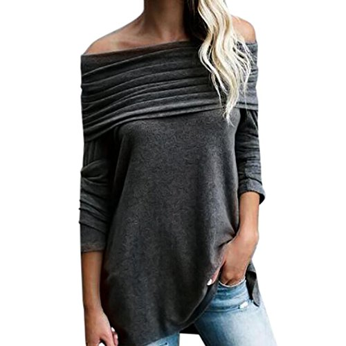 OYSOHE Sexy Women Loose Long Sleeve Off Shoulder Strapless Tops Ruched Blouse Shirt