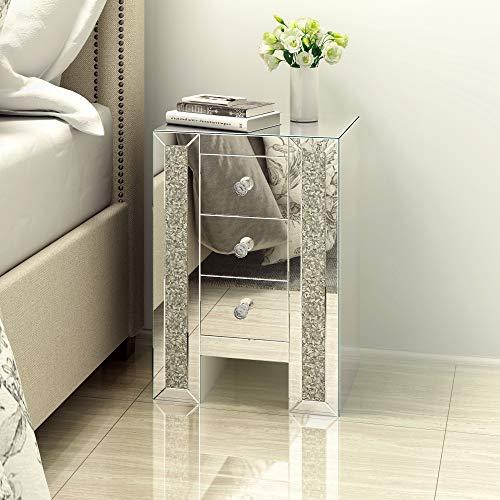 ANABELLE Table de Chevet Miroir en Verre Meuble de Rangement avec 3 Tiroirs sur Salon, Chambre, Bureau, 42 x 32 x 60 cm