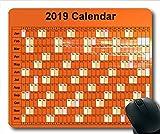 2019 Kalender-Mauspad schwarz, Kalender jährlich Gaming-Mauspads, Kalenderplaner 2019 mit Feiertagsdetails