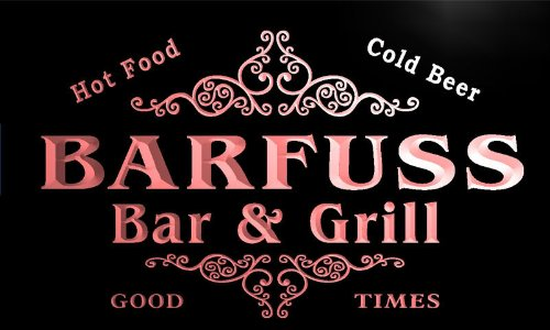 u02303-r BARFUSS Family Name Bar & Grill Cold Beer Neon Light Sign Barlicht Neonlicht Lichtwerbung (Barfuß Bar)
