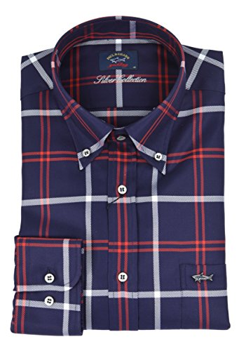 Paul & shark - uomo camicia button down blu check i18p3061 018-27600 - 40