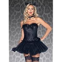 Signore Sexy paillettes nero Cat Costume S (UK 8-10)