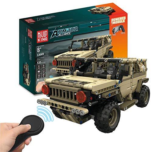 JFMBJS Coche Eléctrico de Control Remoto Juguetes para Niños, 2,4 GHz de Control Remoto Anti-Interferencia, Assembl Bloque de Construcción Militar Hummer, Cumpleaños para Niños