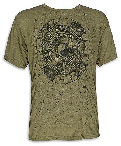 PURE Herren T-Shirt - Ying und Yang Buddhismus Meditation Yoga Esoterik Tao Hinduismus (Olive Grün L)