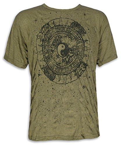 PURE Herren T-Shirt - Ying und Yang Buddhismus Meditation Yoga Esoterik Tao Hinduismus (Olive Grün XL) (Grünen Buddha T-shirt)