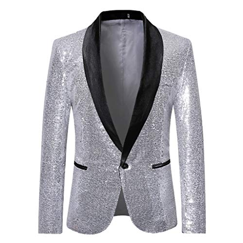 Herren Anzug 1 Teiliger Set Slim Fit Muster Mantel, Männer Blazer für Hochzeit und Party Business Casual Schlanker Einzelne-Knopf-Hochzeitsfest-Kleid Jacke Suit Regular Fit Mens Top -