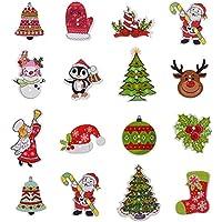 Teabelle DIY 2 Agujeros Botones Madera Navidad Dibujos Animados Costura Scrapbooking 50 Piezas