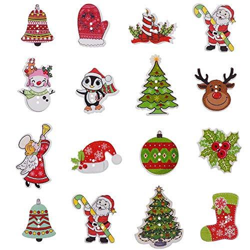 Teabelle bottoni in legno a 2 fori per decorazioni fai-da-te, decorativi forma di albero di natale per cucito e scrapbooking, 50 pezzi